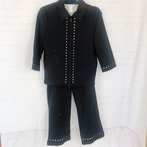 [Spanner] 3 Pc crop pant suit small/6